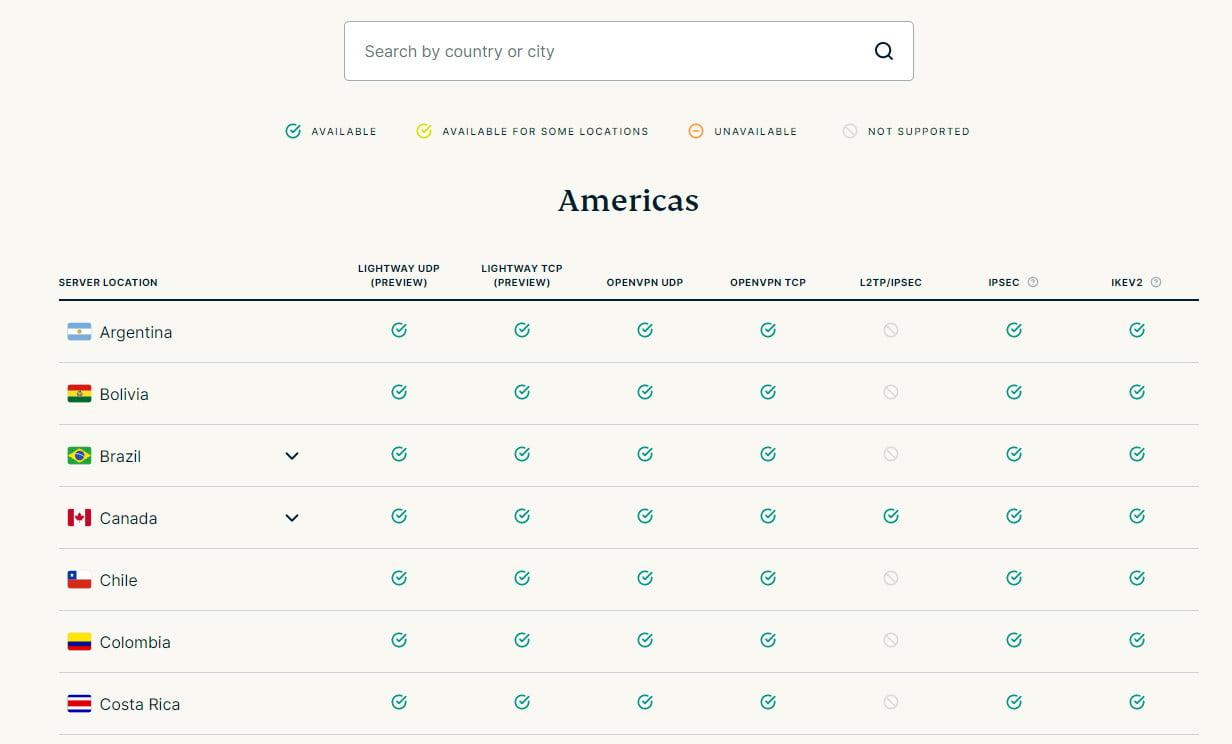 Với hơn 160 địa điểm ở 94 quốc gia, ExpressVPN cung cấp nhiều tùy chọn hơn hầu hết các dịch vụ VPN khác