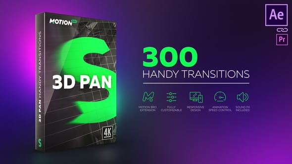 3D Pan Handy Transitions – over 300 presets, for After Effects